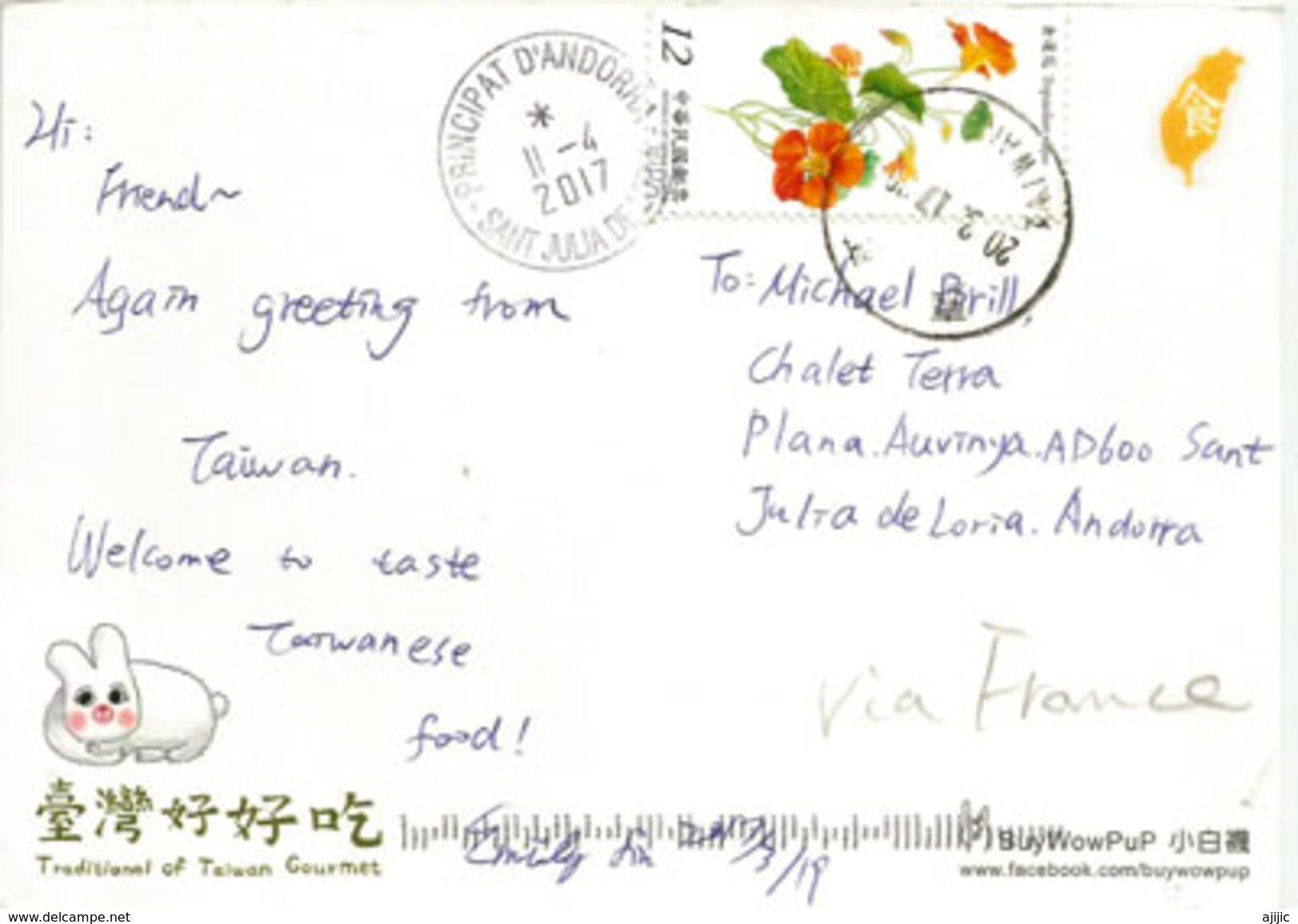 Taïwan Traditional Foods: Steamed Burger .  Postcard Addressed To ANDORRA, With Arrival Postmark - Formose