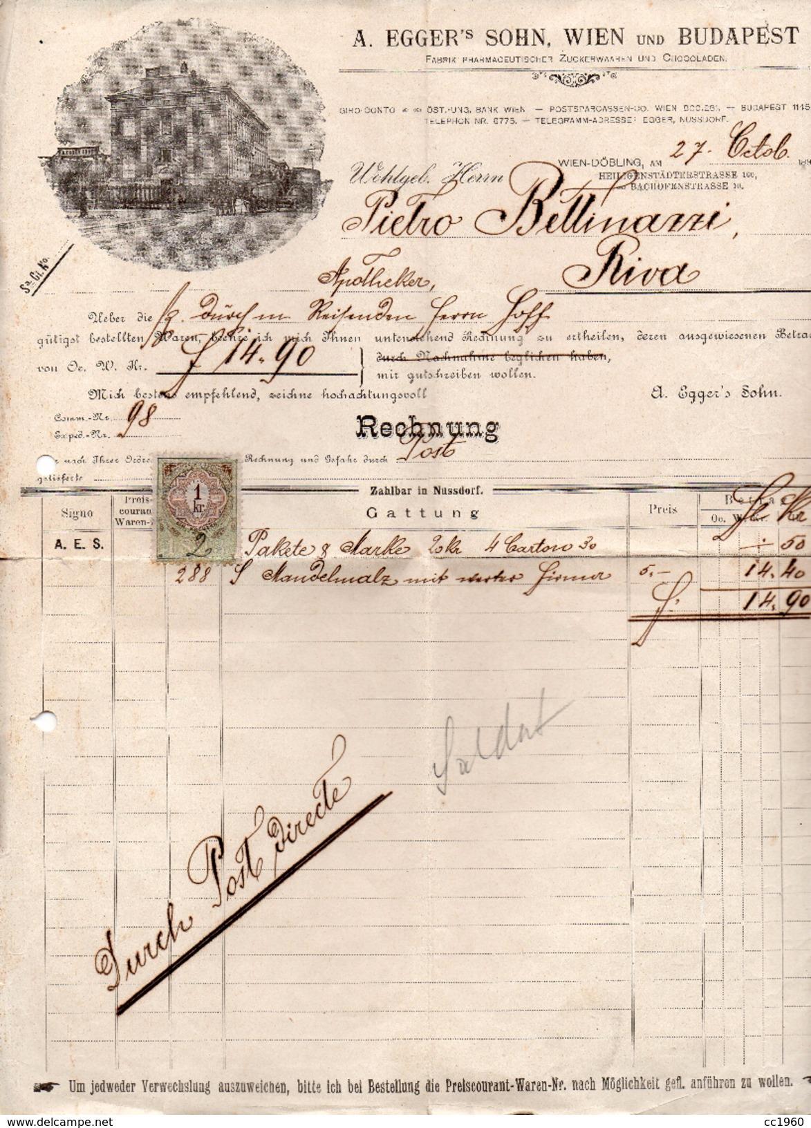 "Austria - Vienna  - Fattura Della Ditta "" A. Egger'S Sohn ""  Datata  27 Ottobre 1896 - (FDC4143) - Austria"