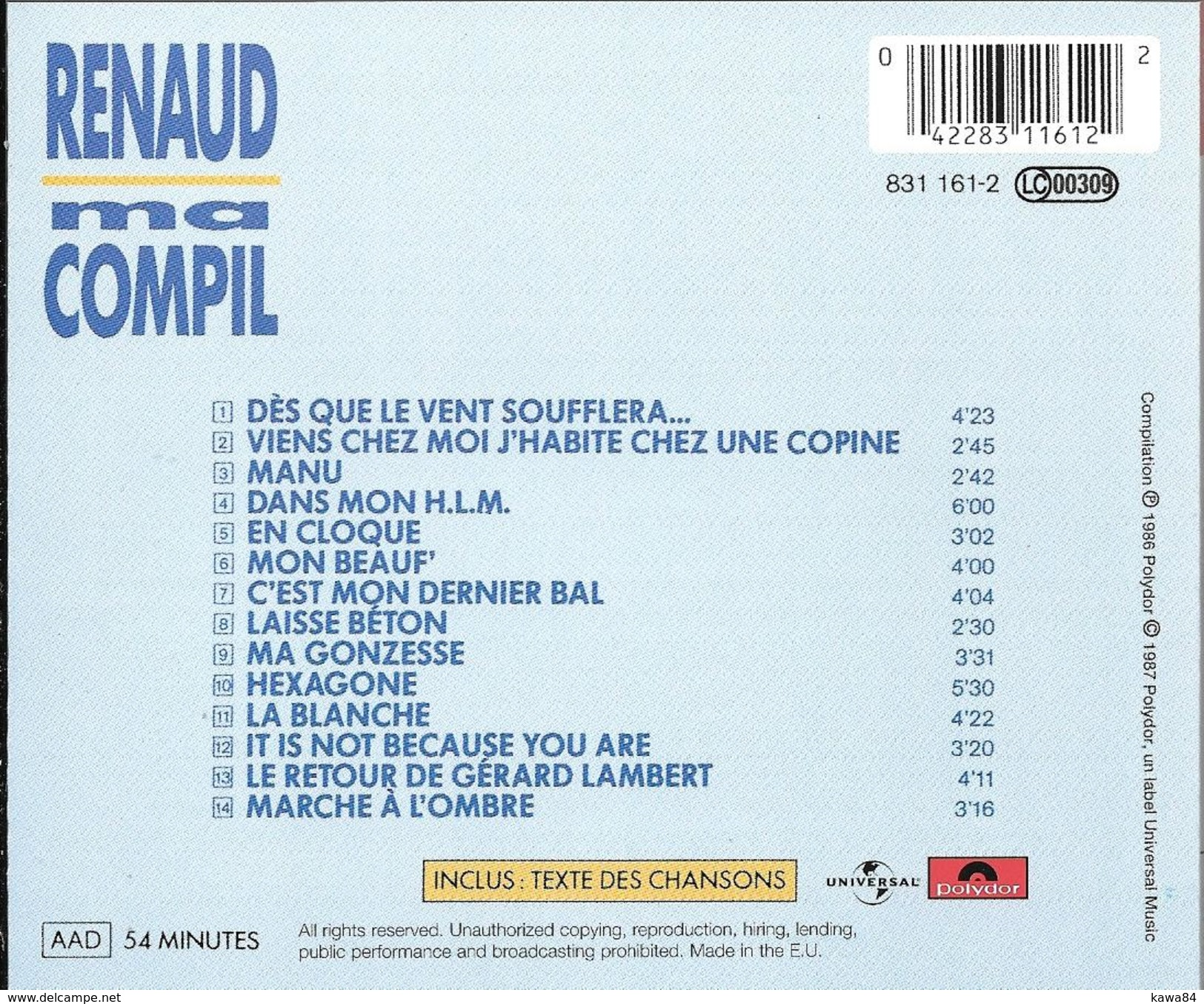 """Renaud  """"  Ma Compil  """" - Musik & Instrumente"""