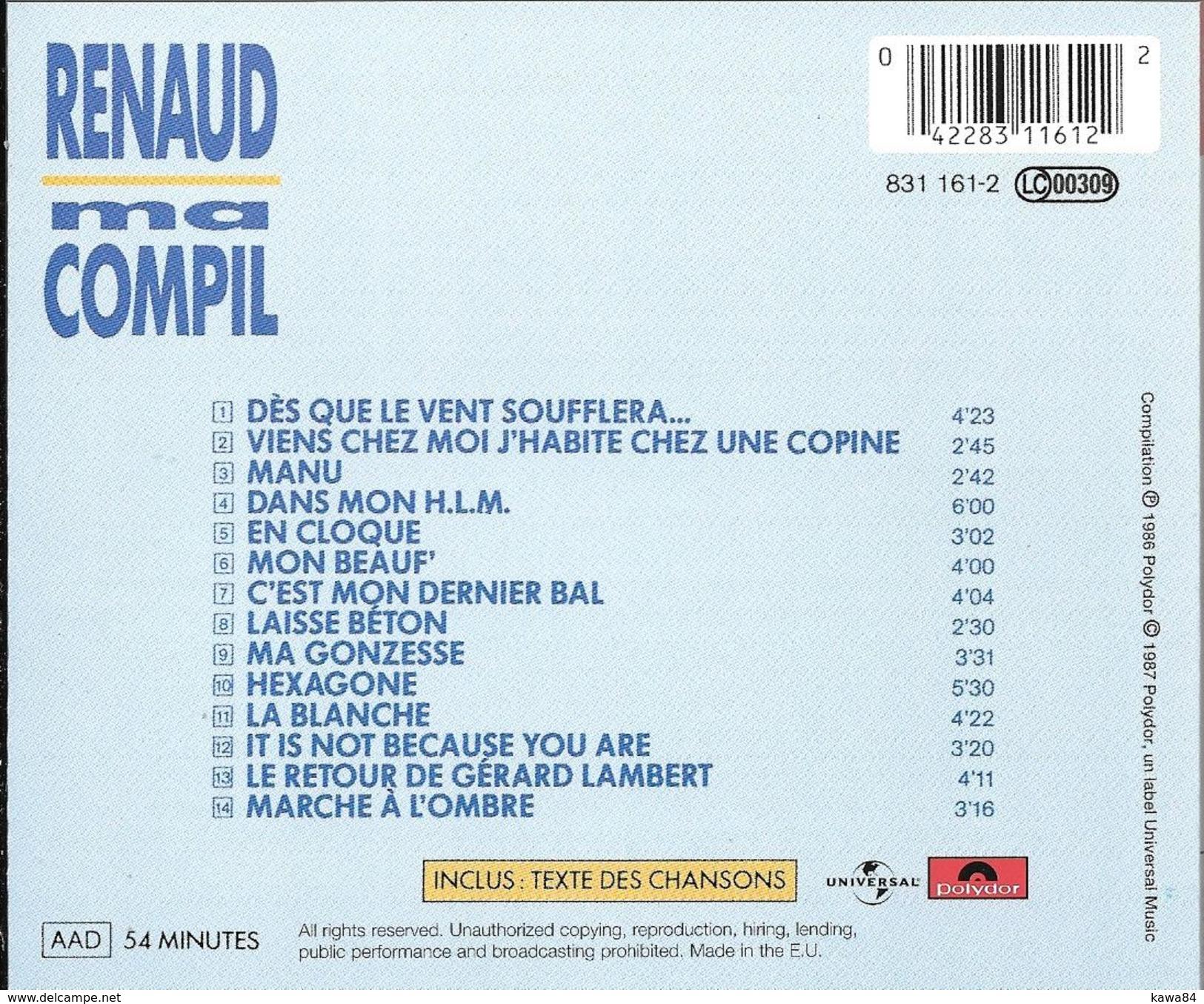 "CD  Renaud  ""  Ma Compil  "" - Musik & Instrumente"
