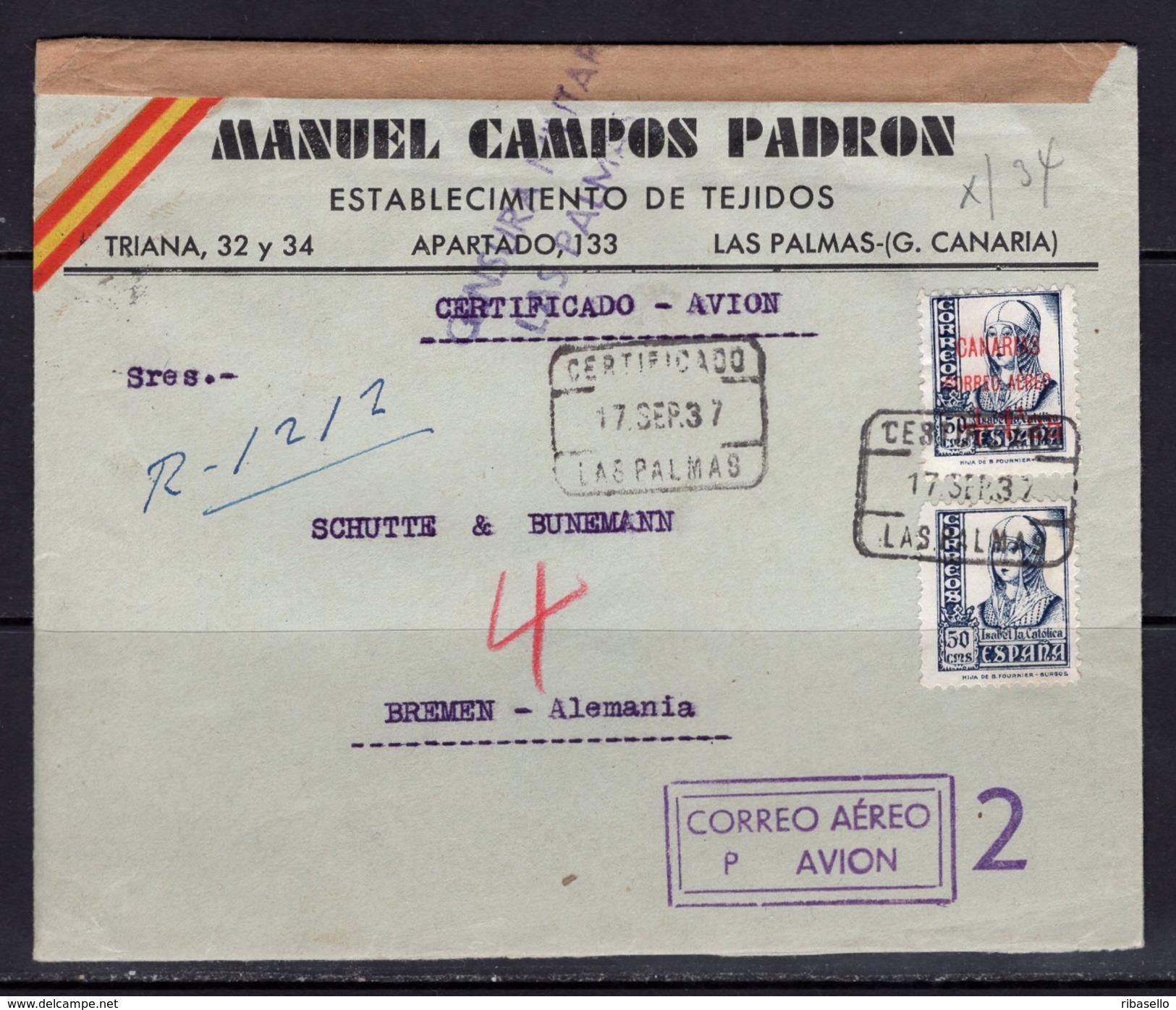 España 1937. Canarias. Carta De Las Palmas A Bremen. Censura. - Marcas De Censura Nacional