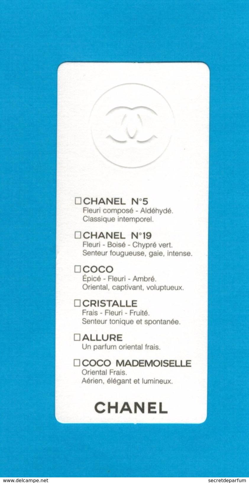 Cartes Parfumées  Carte CHANEL GAMME N°5 N°19 COCO CRISTALLE ALLURE COCO MADEMOISELLE   De CHANEL RECTO VERSO - Cartes Parfumées