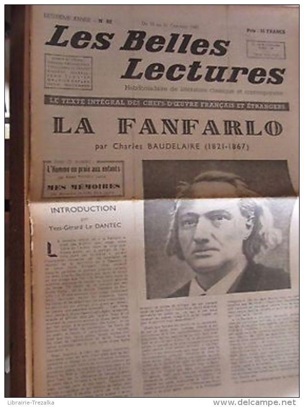 Les Belles Lectures N°82 Du 15 Au 21 Octobre 1947/ Ch. Baudelaire: La Fanfarlo - Autres Collections