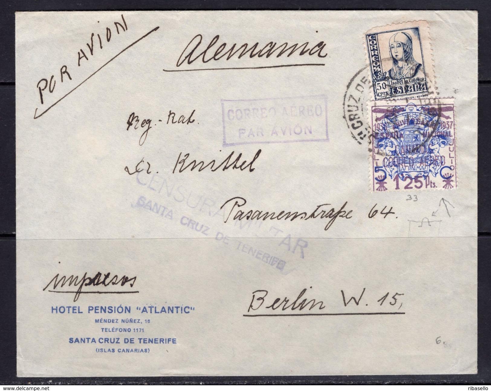 España 1937. Canarias. Carta De Tenerife A Berlin. Error. Censura. - Marcas De Censura Nacional