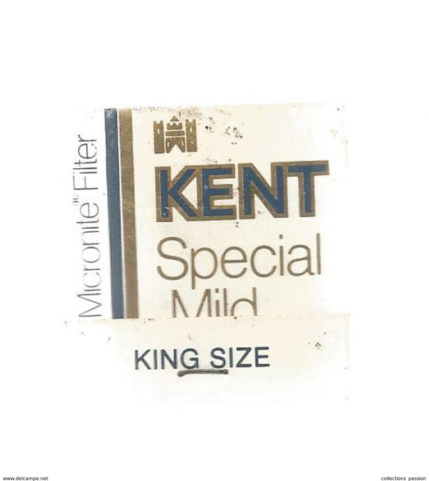 G-I-E, Tabac, Boite, Pochette  D'ALLUMETTES, Publicité, 2 Scans, Cigarettes KENT Special Mild , King Size - Matchbox Labels