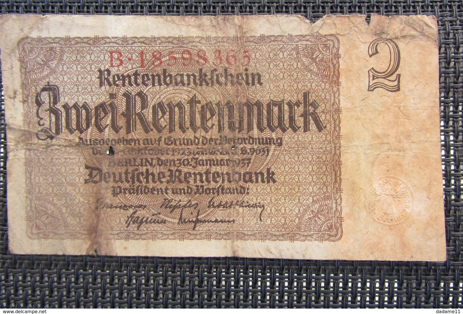 Allemagne 2 Rentenmark 1937 - [ 4] 1933-1945: Derde Rijk