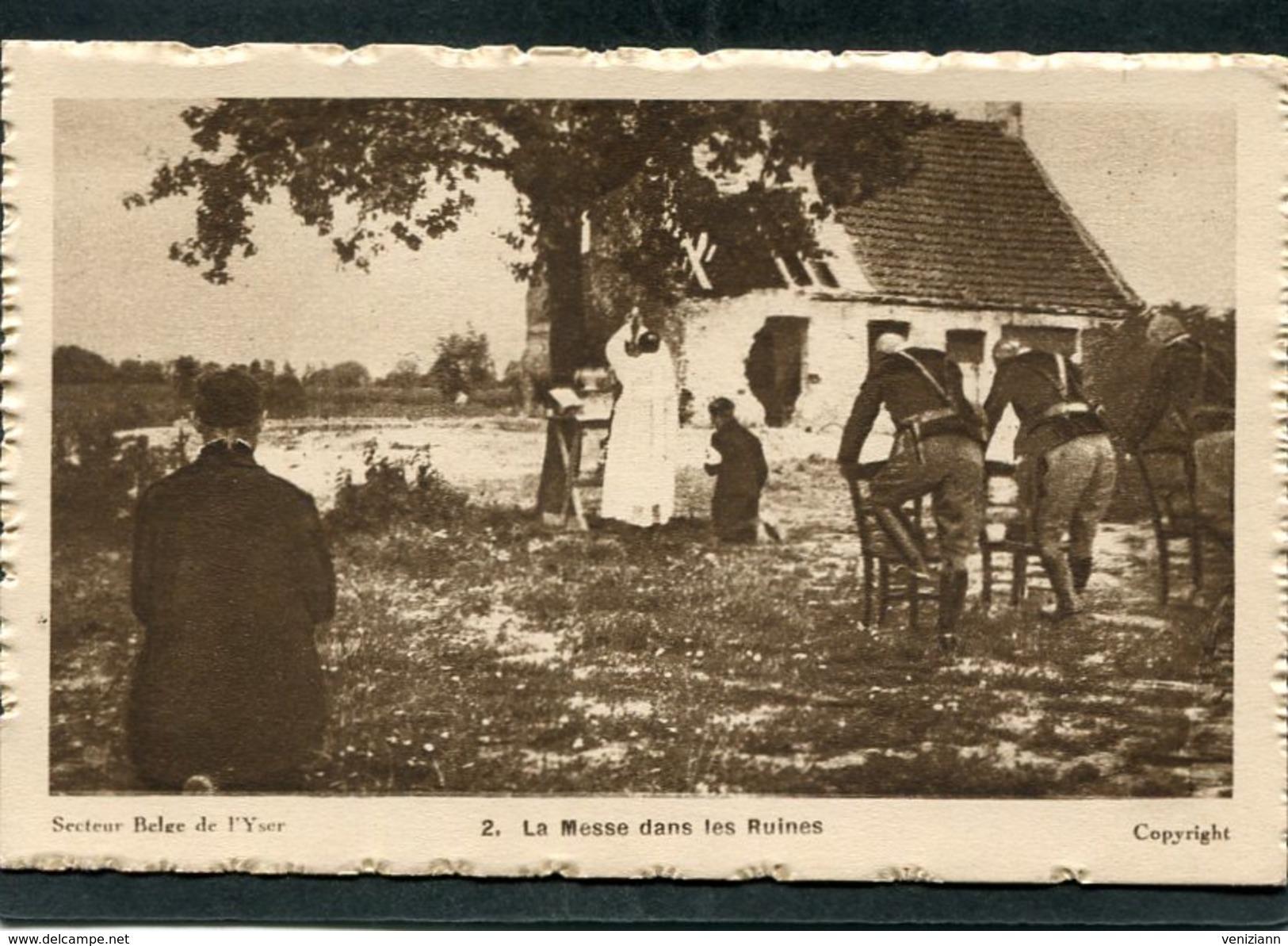 CPA - Secteur Belge De L'Yser - La Messe Dans Les Ruines, Animé - Guerre 1914-18