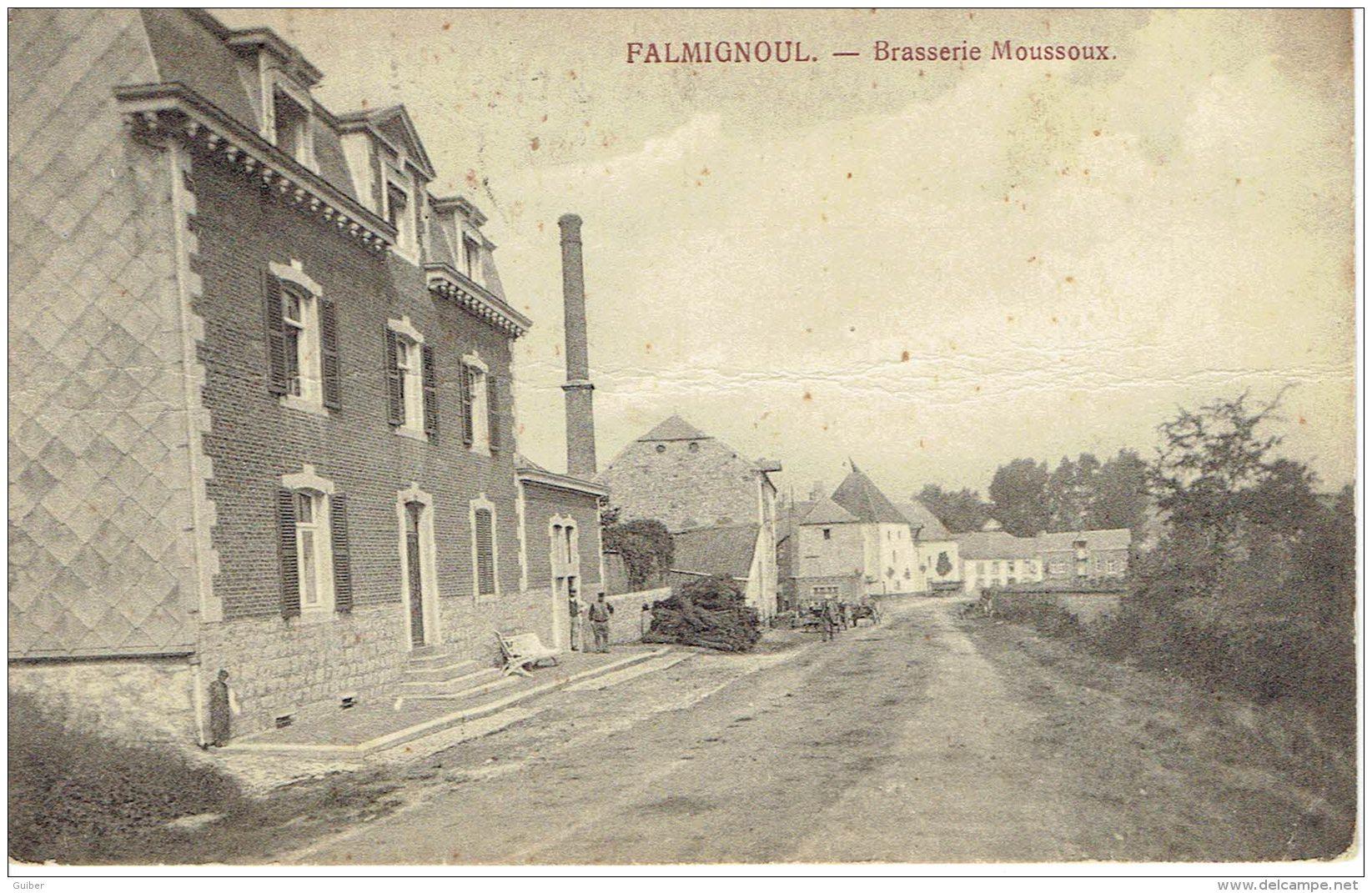Falmignoul Prés De Walzin Et Furfooz Brasserie Moussoux  (carte Rare) Petit Pli Horizontal Posté 1915 - Dinant