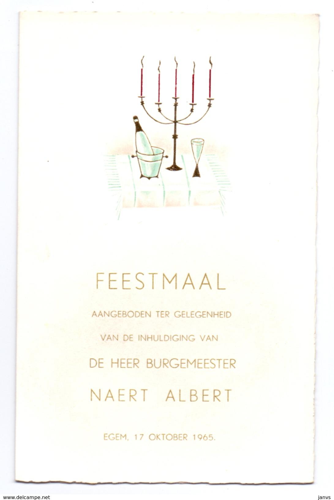 Menu - Feestmaal Inhuldiging Burgemeester Naert Albert - Egem 17.10.1965 - Vancoillie - Menú