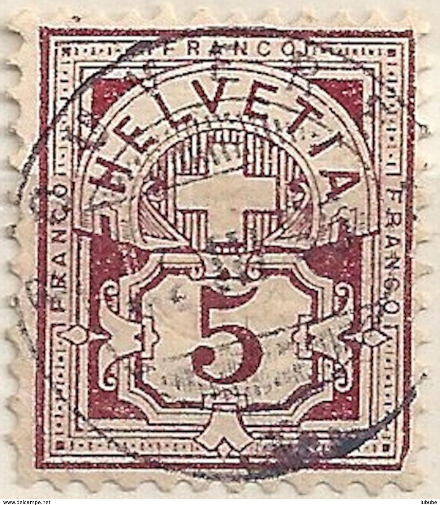 Ziffer 60B, 5 Rp.bräunlichlila  BOUVERET  (Abart)          1895 - Oblitérés