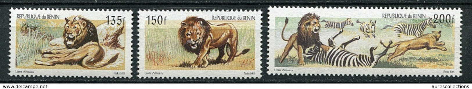 BENIN Ref. Michel N° 1324 à 1326  - Le Lion - Lions- Felins- RARE 2001 MNH With Reference Michel On Verso - Benin – Dahomey (1960-...)