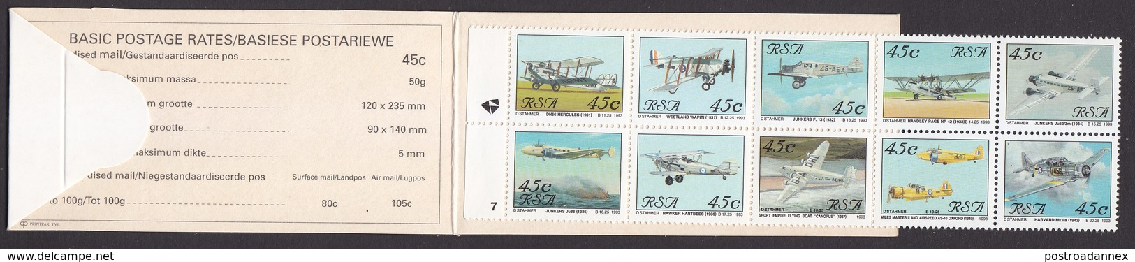 South Africa, Scott #849 Booklet, Mint Hinged, Planes, Issued 1993 - Carnets