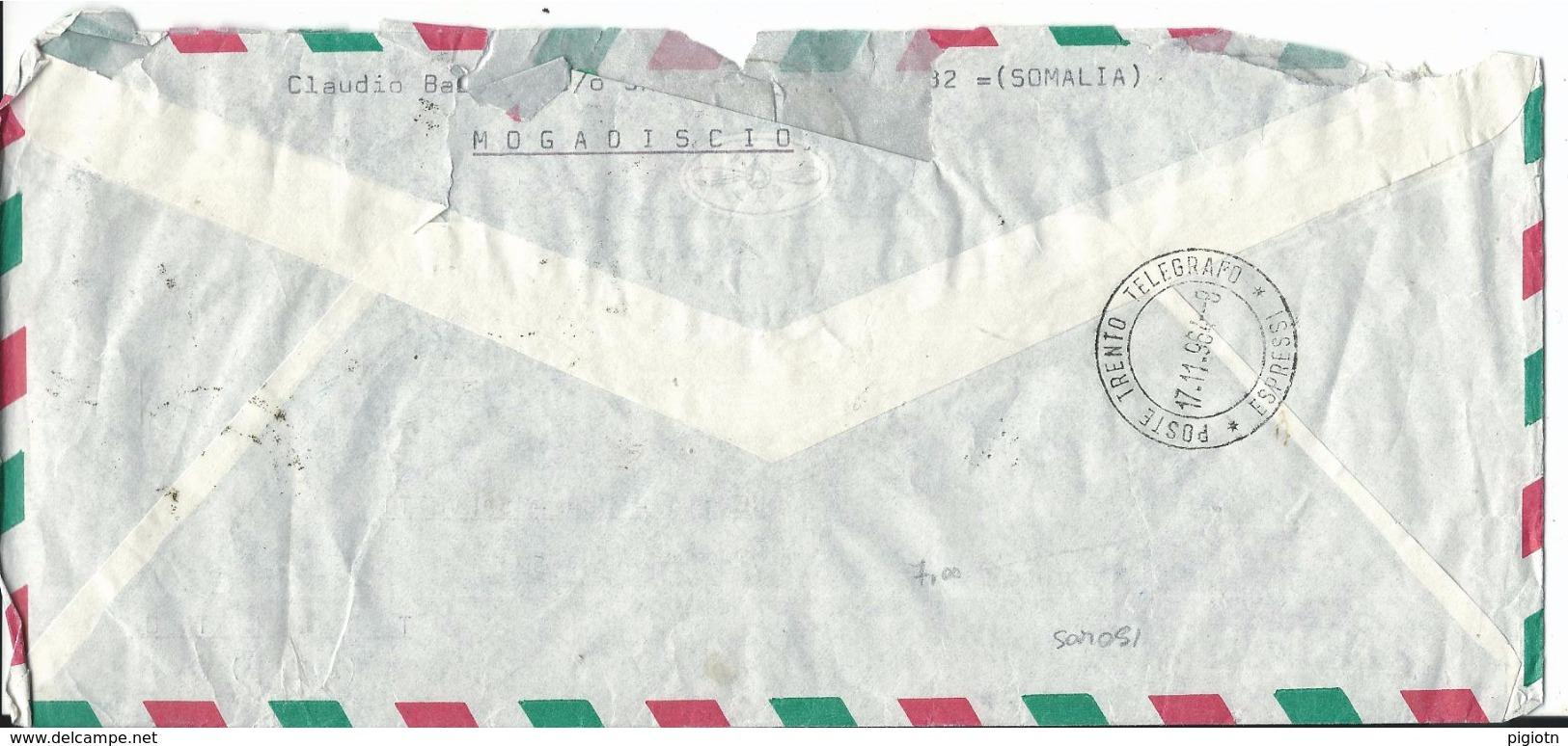 SOM051 - SOMALIA - LETTERA  RACCOMANDATA ESPRESSO PER VIA AEREA - DA MOGADISCIO A TRENTO -  VIAGGIATA 15.11.1964 - Somalia (1960-...)