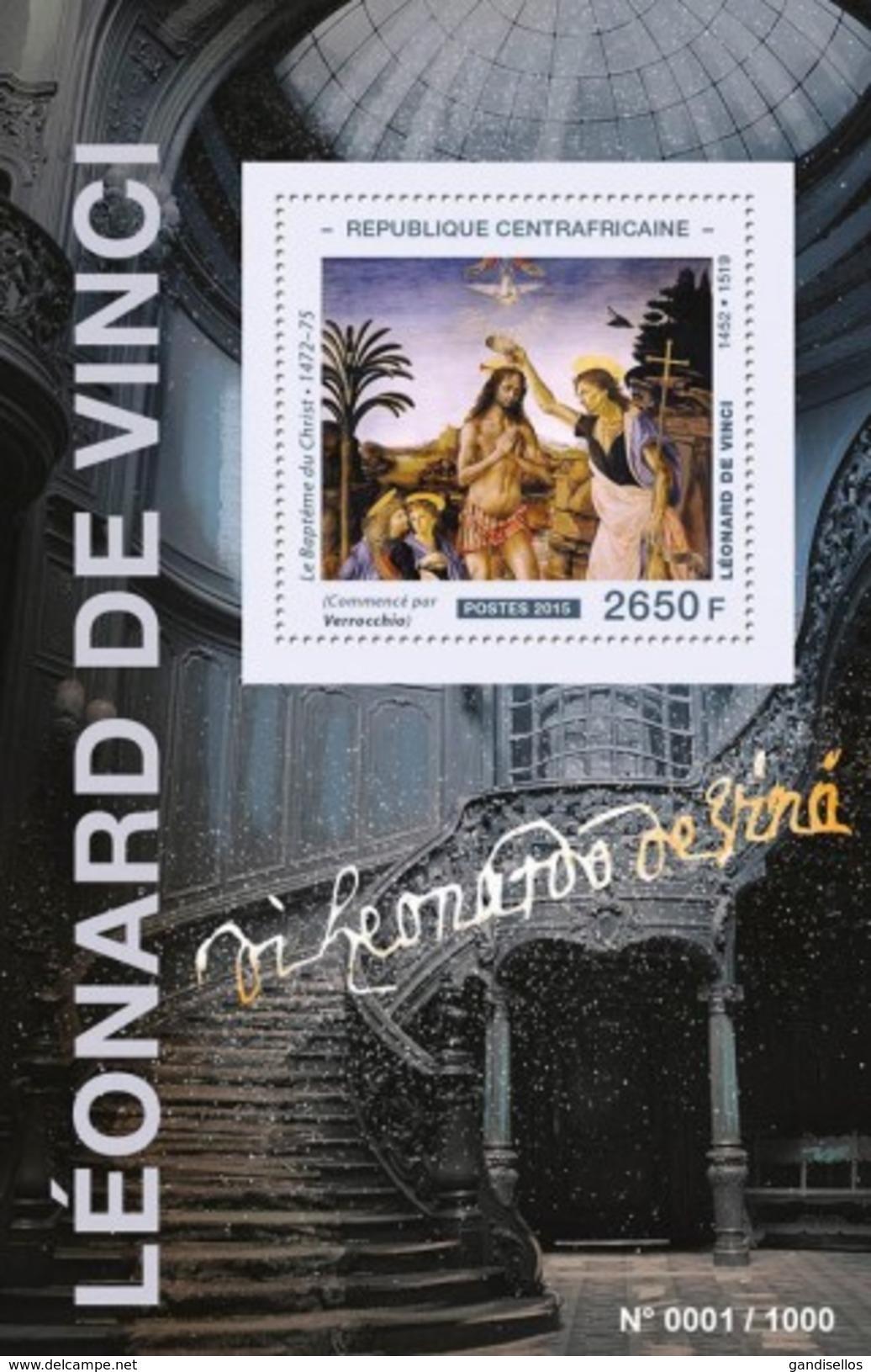 CENTRAFRICAINE 2015 SHEET DA VINCI ART PAINTINGS Ca15516b - República Centroafricana