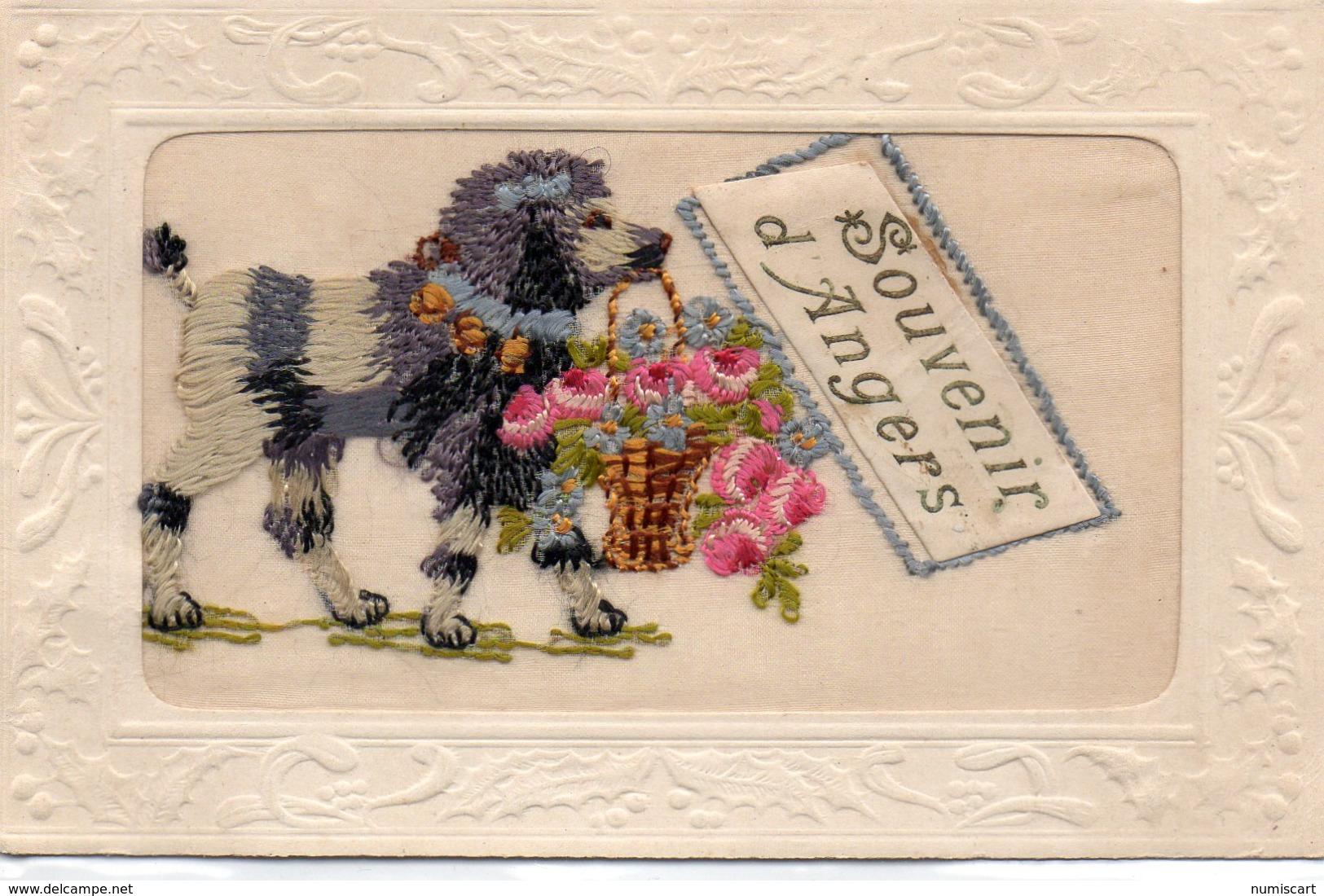 """Angers.. Belle Carte Brodée Fantaisie """"Souvenir D'Angers"""" Chien Panier De Fleurs - Embroidered"""