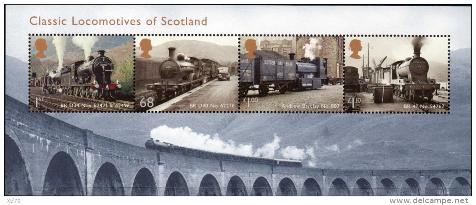 GREAT BRITAIN 2012 Classic Locomotives Of Scotland M/S - Blocks & Miniature Sheets