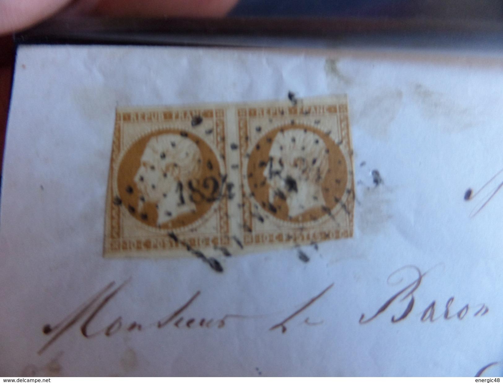 Lot Du 14.04.17_rare Paire Du N°9 Bistre -brun Foncé De Macon Pour Bourgoin Du 18 Jnv 54 Cote 3200€  Prix De Départ - 1852 Louis-Napoléon