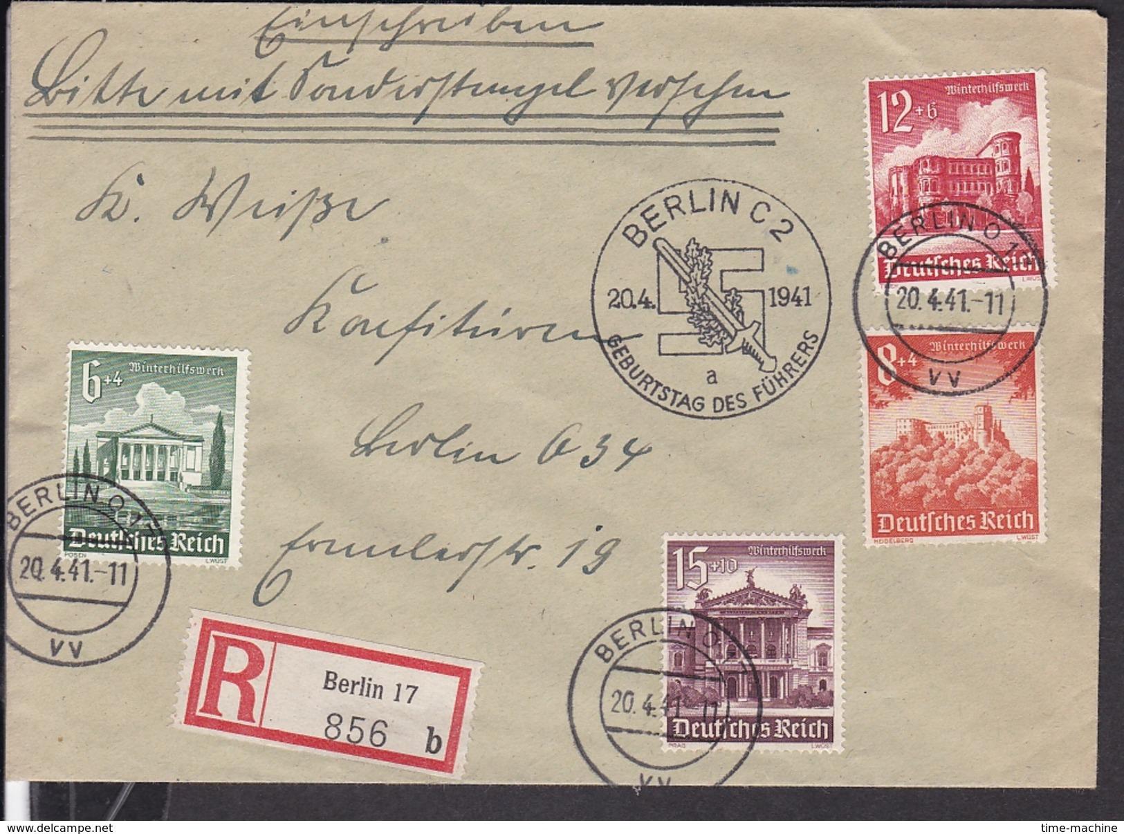"""Einschreibbrief Deutsches Reich Sonderstempel Berlin """" Geburtstag Des Führers """" 1941 ( Winterhilfswerk Briefmarken ) - Briefe U. Dokumente"""