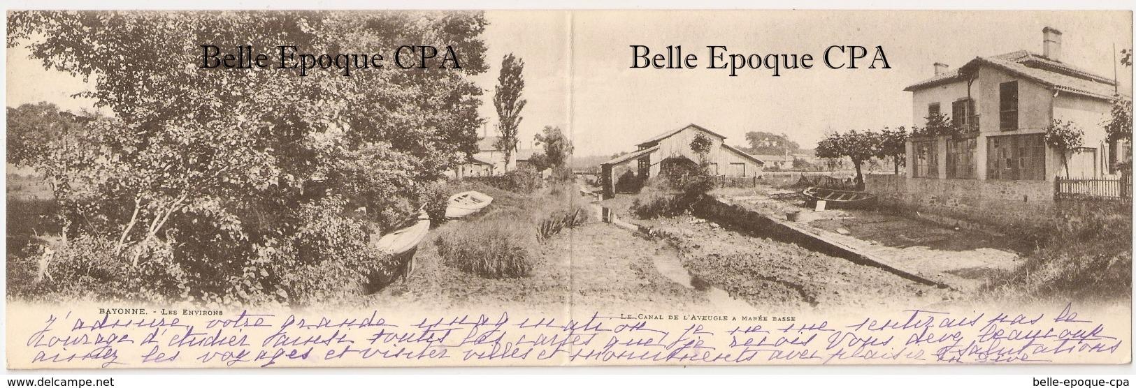 64 - BAYONNE - Le Canal De L'Aveugle à Marée Basse ++++ CARTE-DOUBLE / X2 Panels +++ 1902 ++++ RARE - Bayonne