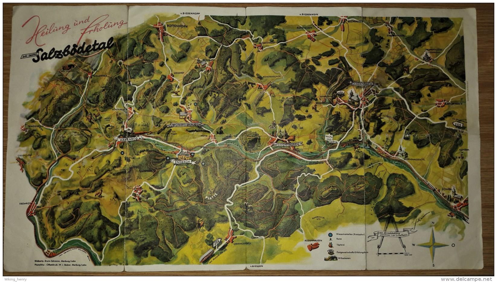 Salzbödetal - Schöne Alte Landkarte / Übersichtskarte - Landkarten