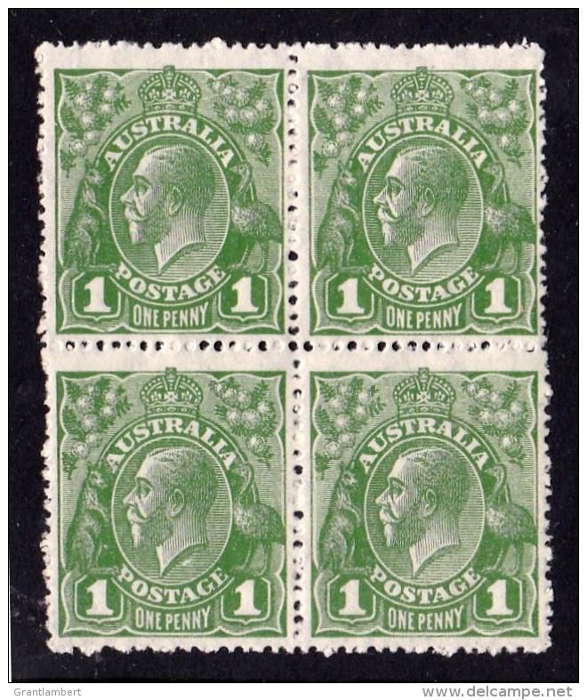 Australia 1926 King George V  1d Green SMW P14 Block Of 4 MH/MNH - 3 Varieties - 1913-36 George V: Heads
