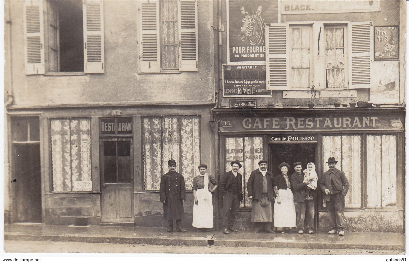 51 Chalons Sur Marne Carte Photo Rare Café  Restaurant 15 Rue Des Frippiers Près De La Salle Des Fêtes - Châlons-sur-Marne