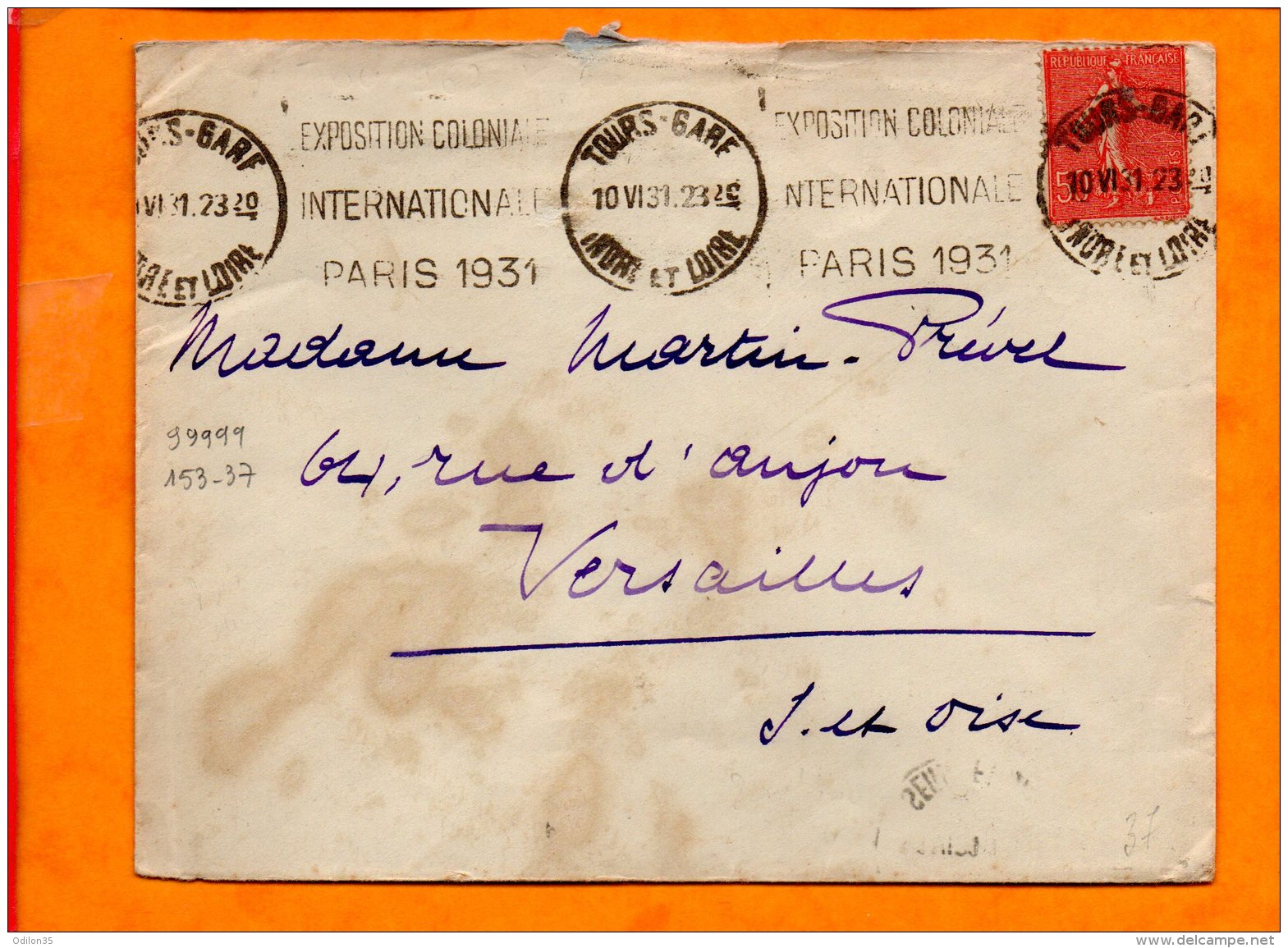 INDRE ET LOIRE, Tours, Flamme à Texte, Exposition Coloniale Internationale Paris 1931, KRAG - Poststempel (Briefe)