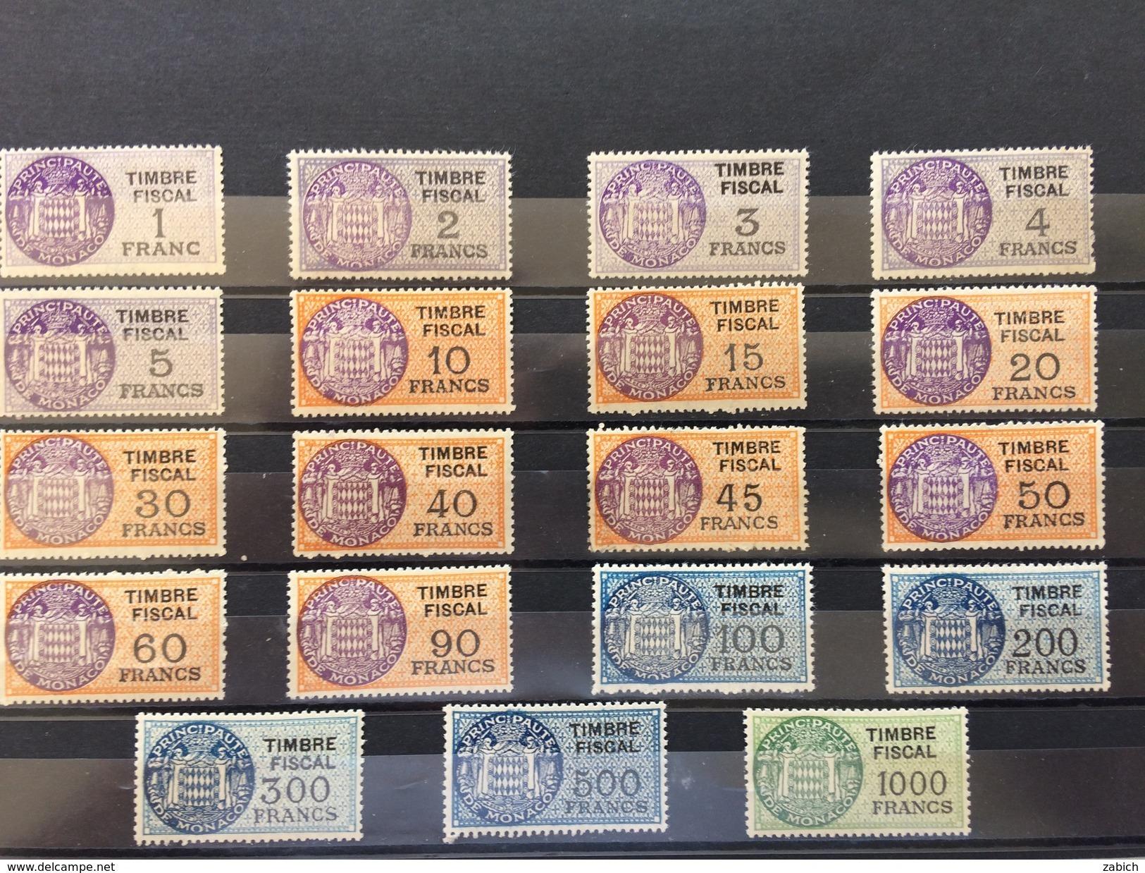 TIMBRES FISCAUX DE MONACO SERIE UNIFIEE DE 1949 COMPLETE 19 TIMBRES NEUFS  (**) Cote Y Et T 2016  566€ - Fiscaux