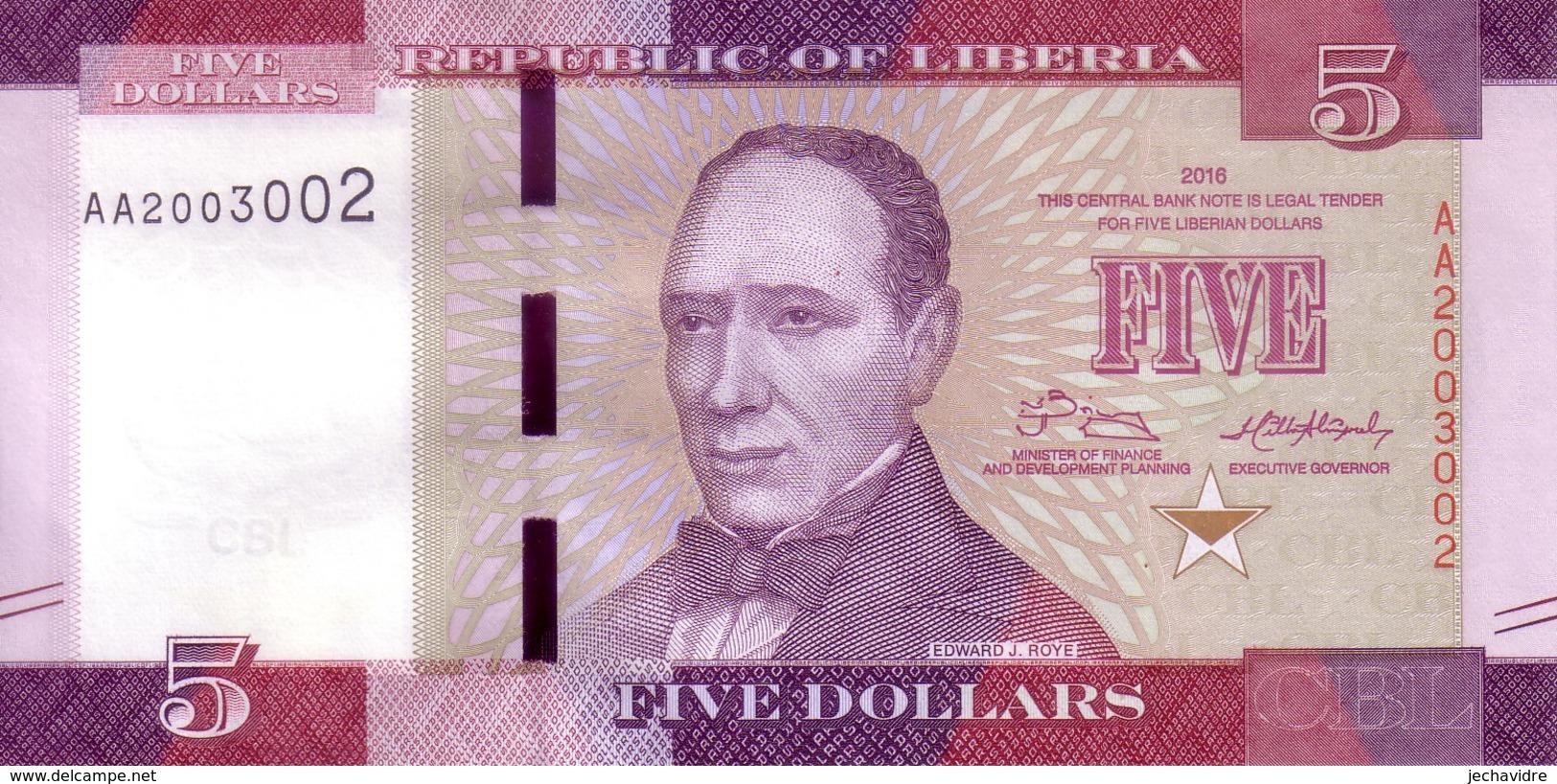 LIBERIA   5 Dollars  Emission De 2016    ***** BILLET  NEUF ***** - Liberia