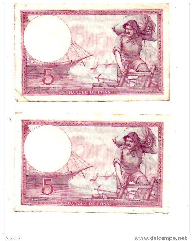 Un Lot De 5 Billets De 5 Francs -voir état - 5 F 1917-1940 ''Violet''