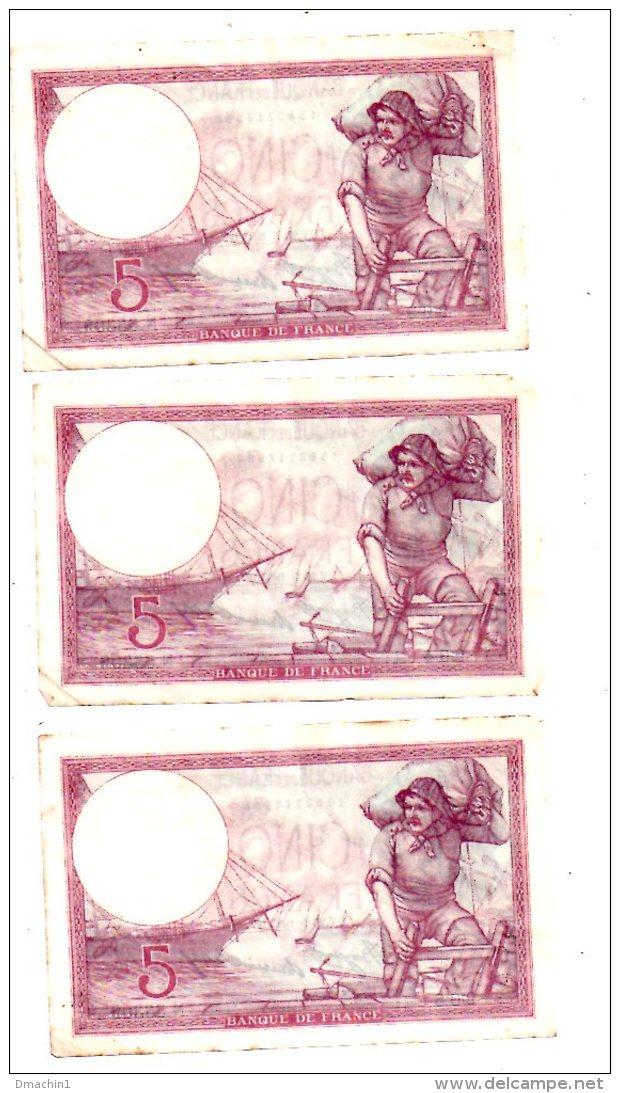 Un Lot De 5 Billets De 5 Francs -voir état - 1871-1952 Anciens Francs Circulés Au XXème