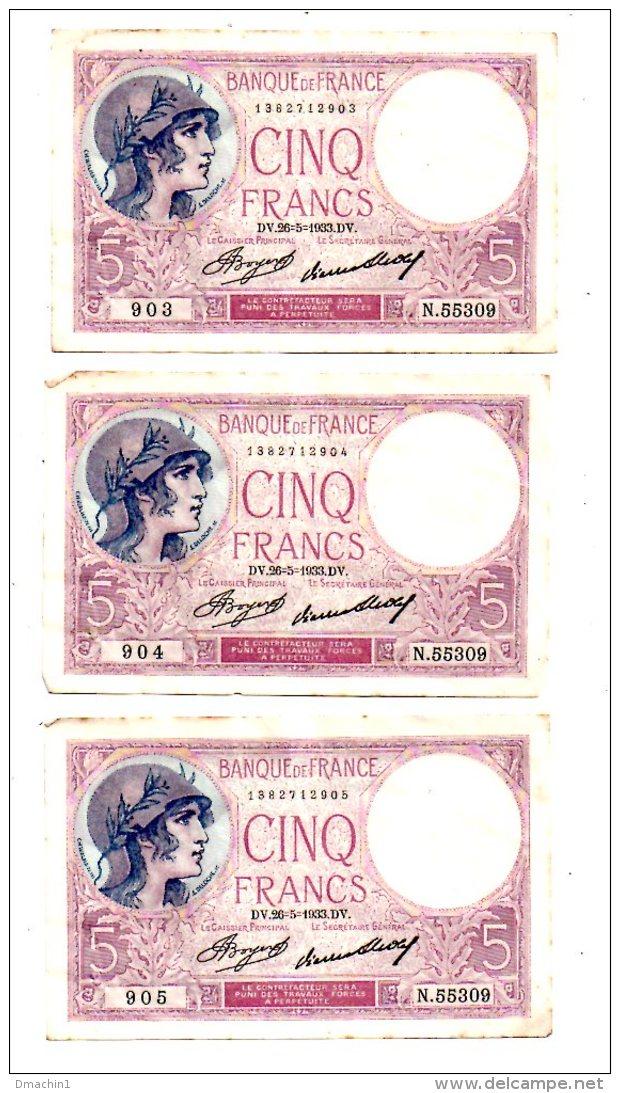 Un Lot De 5 Billets De 5 Francs -voir état - 1871-1952 Frühe Francs Des 20. Jh.