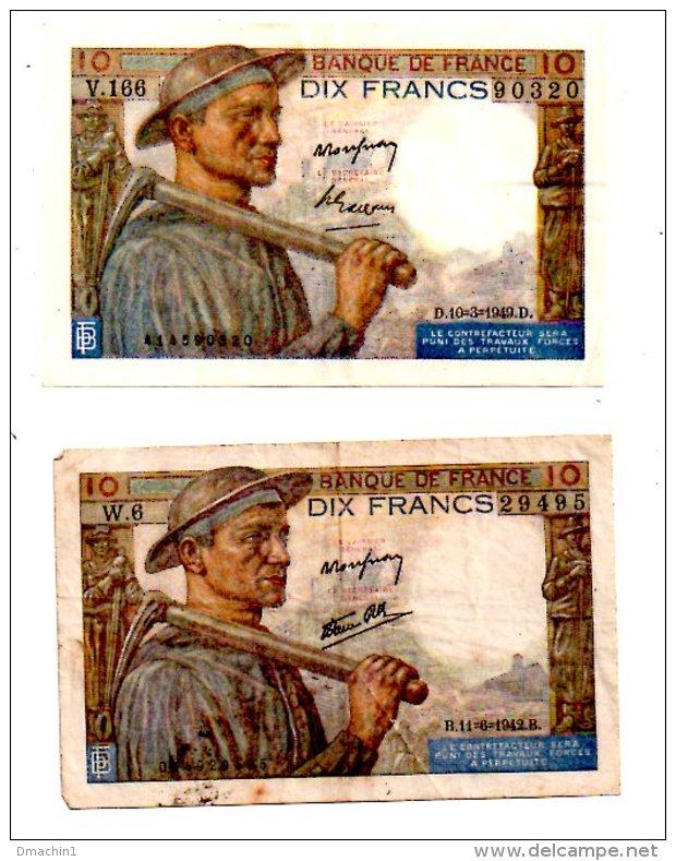 Un Lot De 2 Billets De 10 Francs -voir état - 1871-1952 Frühe Francs Des 20. Jh.