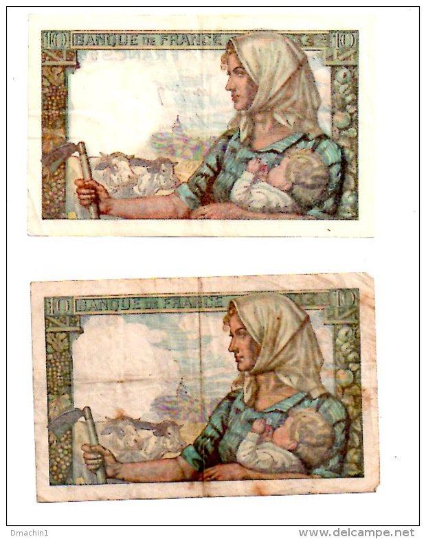Un Lot De 2 Billets De 10 Francs -voir état - 1871-1952 Circulated During XXth