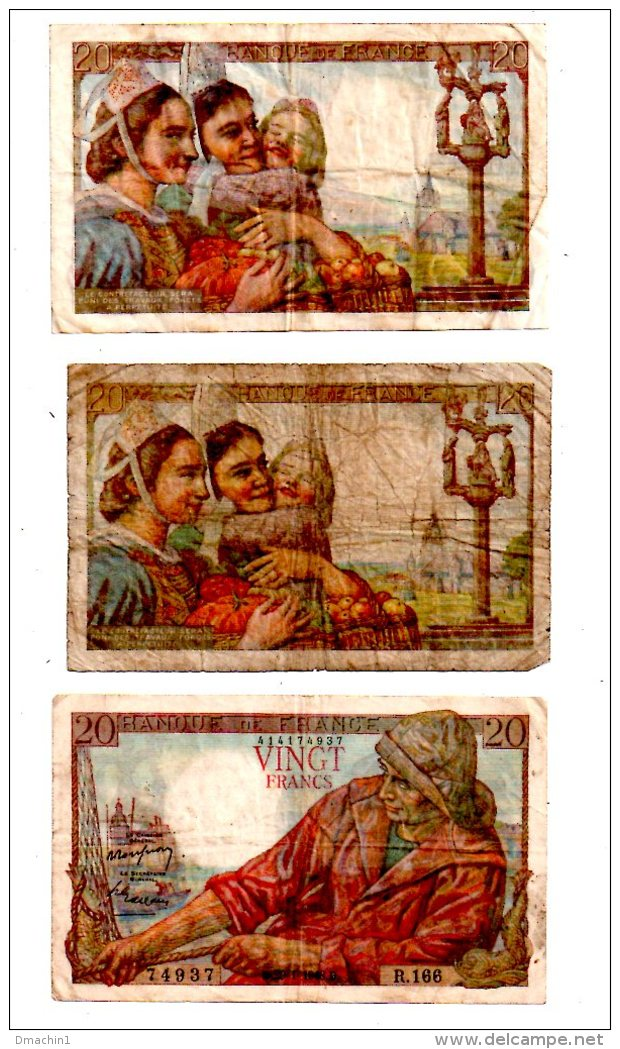 Un Lot De 3 Billets De 20 Francs  -voir état - 1871-1952 Anciens Francs Circulés Au XXème