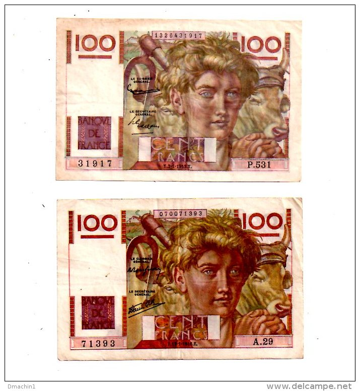 """Un Lot De 2 Billets De 100 Francs-""""Jeune Paysan""""  -voir état - 1871-1952 Frühe Francs Des 20. Jh."""