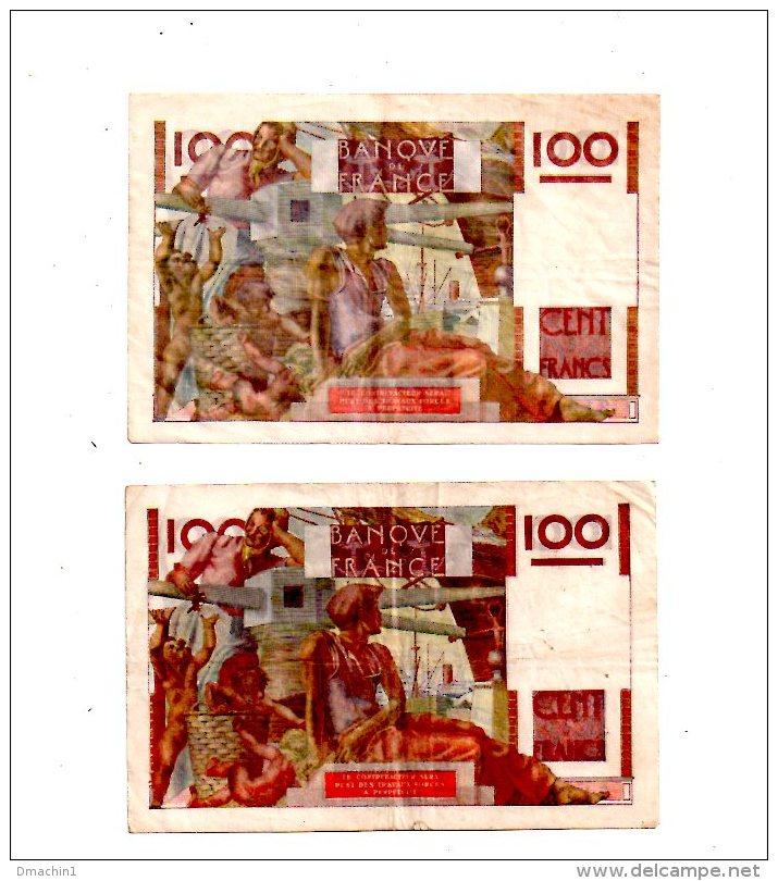 "Un Lot De 2 Billets De 100 Francs-""Jeune Paysan""  -voir état - 1871-1952 Circulated During XXth"