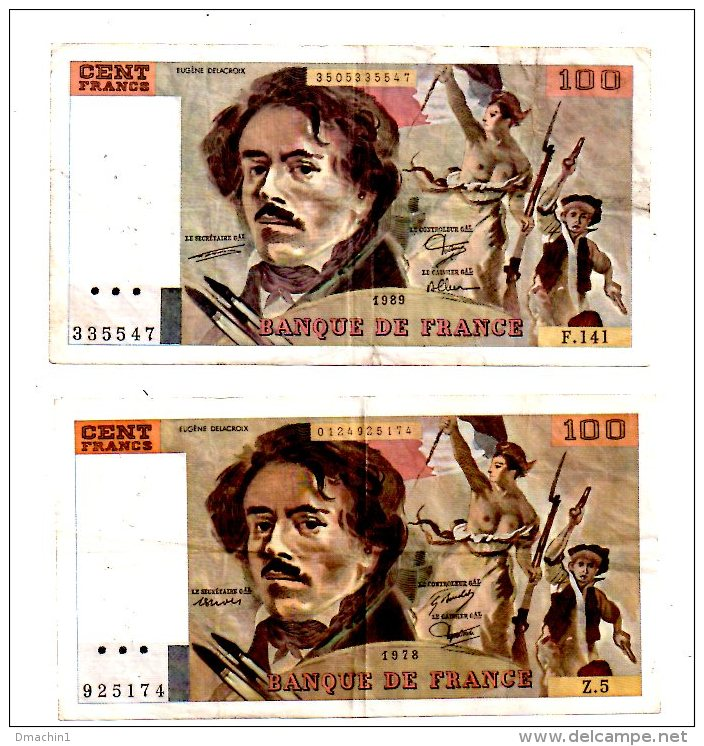 """Un Lot De 2 Billets De 100 Francs-""""Delacroix""""  -voir état - 1962-1997 ''Francs''"""