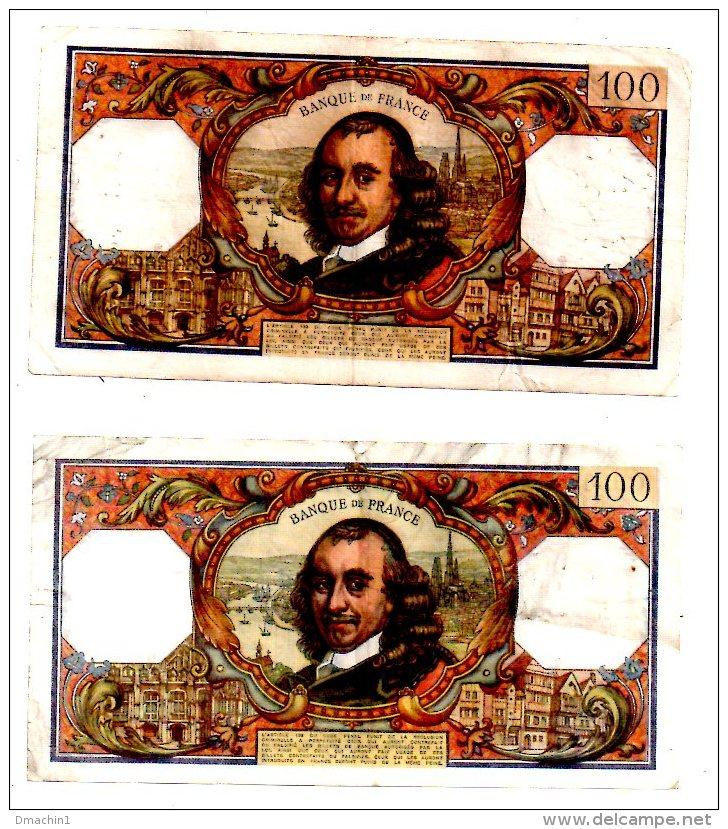 """Un Lot De 2 Billets De 100 Francs-""""Corneille""""  -voir état - 1962-1997 ''Francs''"""