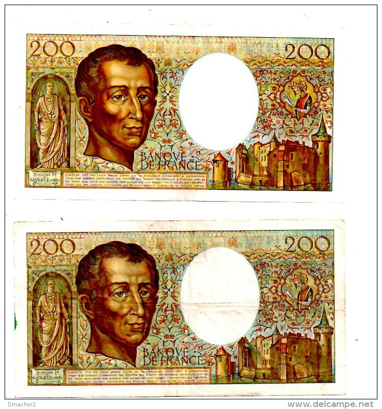 """Un Lot De 2 Billets De 200 Francs-""""Montesquieu""""  -voir état - 1962-1997 ''Francs''"""