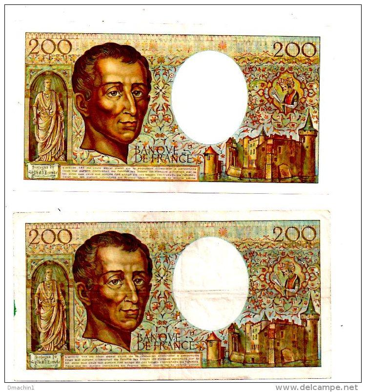 """Un Lot De 2 Billets De 200 Francs-""""Montesquieu""""  -voir état - 200 F 1981-1994 ''Montesquieu''"""