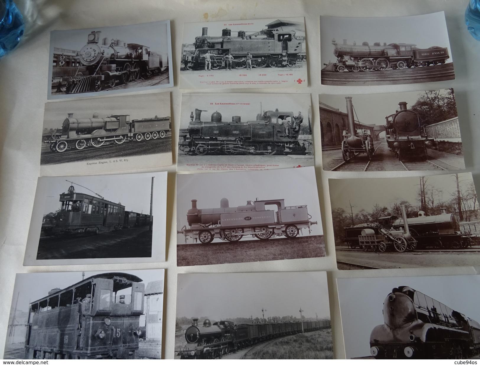 LOT DE + DE 200 CPA -CARTES PHOTOS   TRAINS FRANCAIS ET ETRANGERS; - Trains