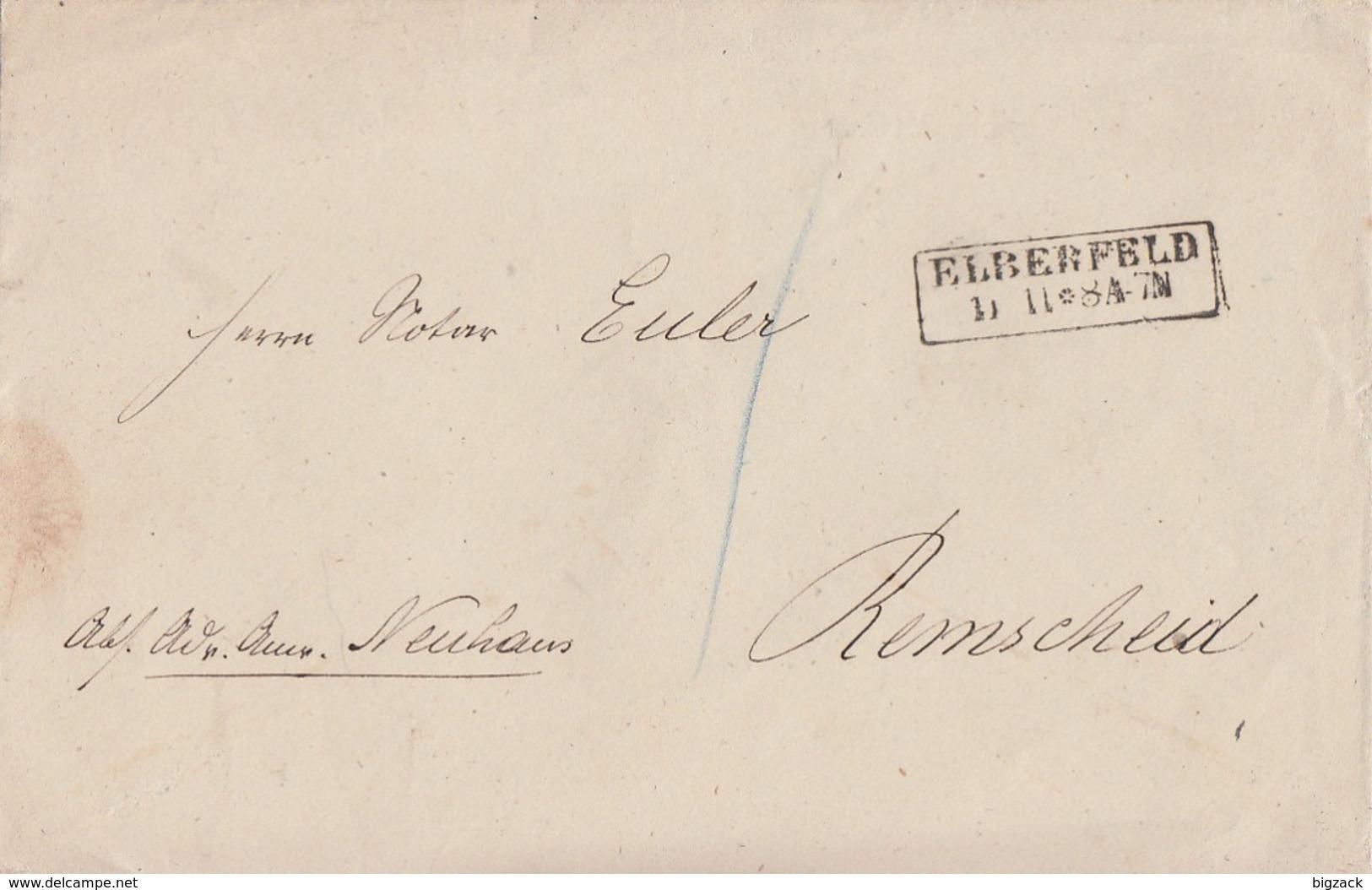 Preussen Brief R2 Elberfeld 11.11. Gel. Nach Remscheid - Preussen