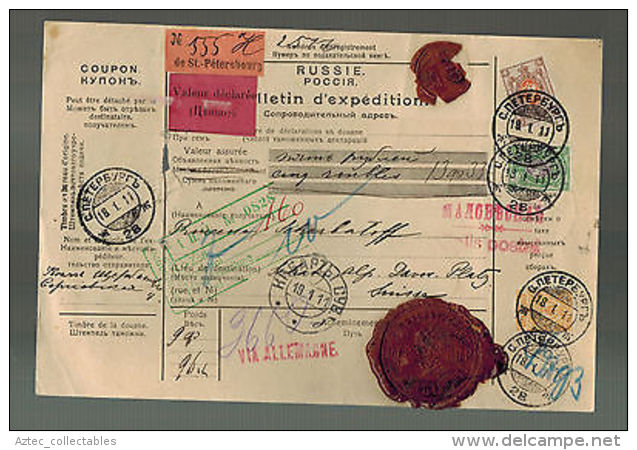 1913 St Petersburg Russia Registered Parcel Cover To Switzerland Red Wax Seals - Non Classés