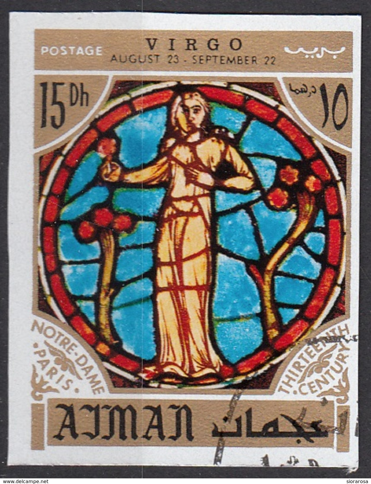 774 Ajman 1971 Segni Zodiaco Virgo Vergine - Stainled Glass Window Vetrata Notre Dame Imperf. Zodiac - Vetri & Vetrate