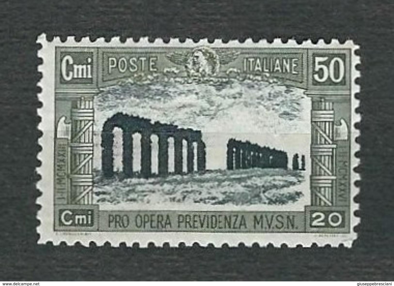 ITALIA 1928 - Pro Opera Previdenza Milizia - 50 C. + 20 C. Oliva E Nero -  MH - Sa 221 - 1861-78 Vittorio Emanuele II