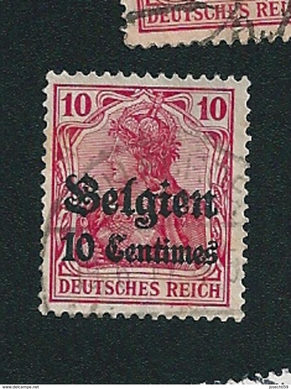 N° 3   Oblitéré Timbre Allemagne / Belgique Oblitéré 1916/1918 Surcharge Belgien 10 Centimes - Zone Belge