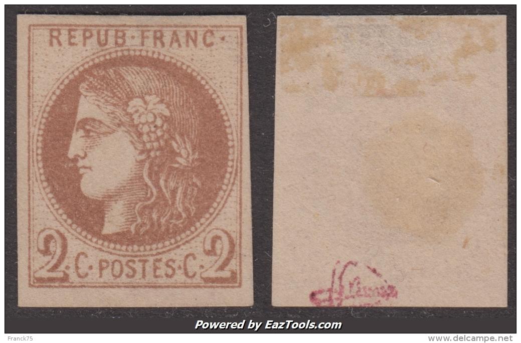 *RARETE* Report I Du 2c Bordeaux Neuf  (*) Signé JF BRUN Aspect SUPERBE ! (Y&T N° 40A, Case 14) - 1870 Emission De Bordeaux