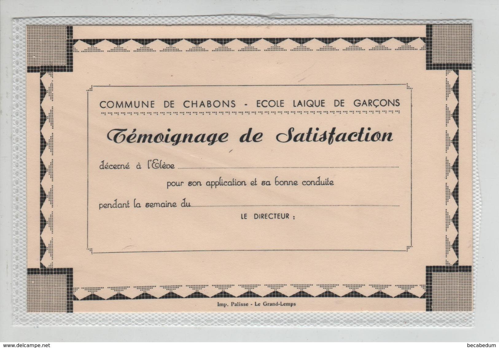 Carte Chabons Ecole Laique De Garçons Témoignage De Satisfaction - Old Paper