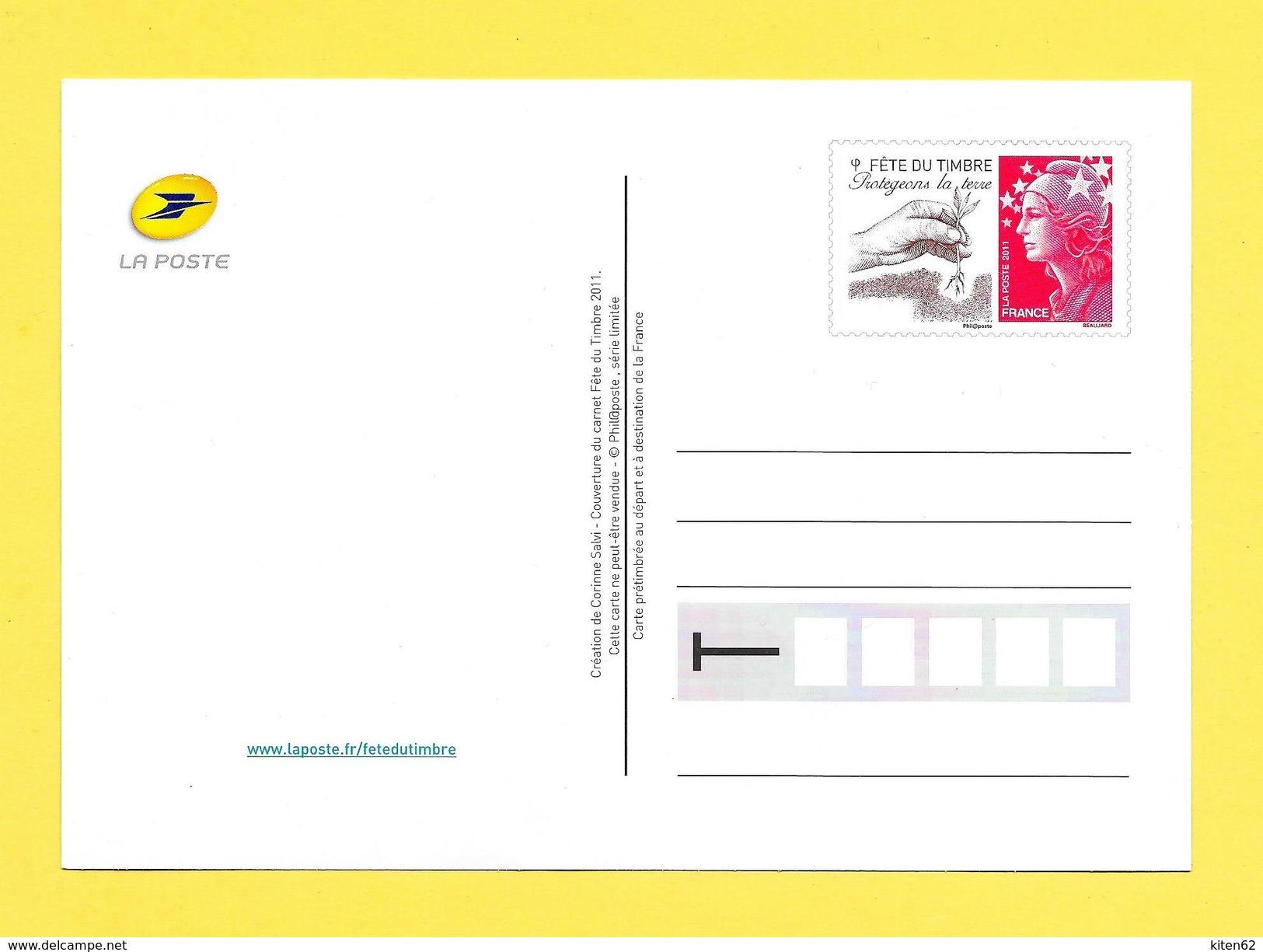 Entier Postal, Fête Du Timbre 2011, Partageons La Terre, Timbre Prioritaire Marianne Repiquage Beaujard - Biglietto Postale
